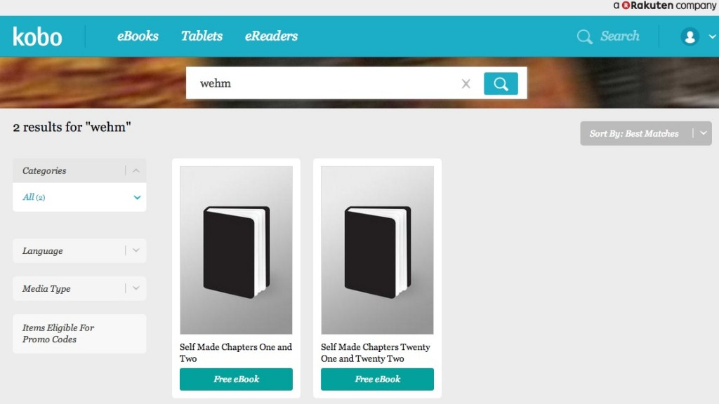 "A search for ""Wehm"" in the New Zealand Kobo store"